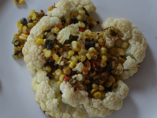 Cauliflower Steaks with Spiced Corn