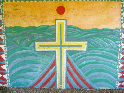 A mural of the Christian Cross